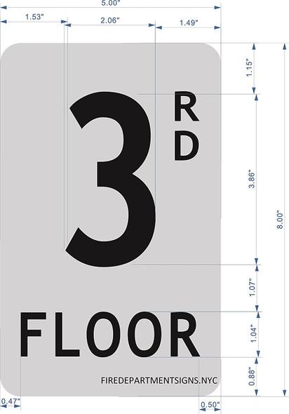 3rd floor SIGN (BRUSH ALUMINIUM, 5X8)-The Mont argent line.
