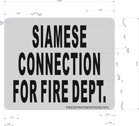Siamese Connection for FIRE DEPT Sign (Brushed Aluminium, 10x12) Potere d'argento Line