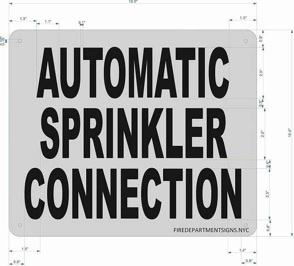 Automatic Sprinkler Connection Sign (Brushed Aluminium, 10x12) Potere d'argento Line