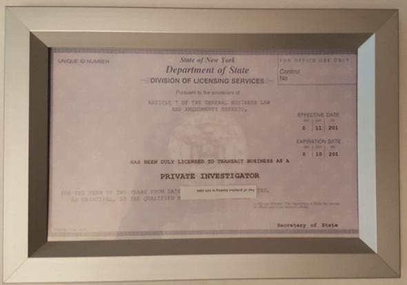 NYS Registration Certificate Frame