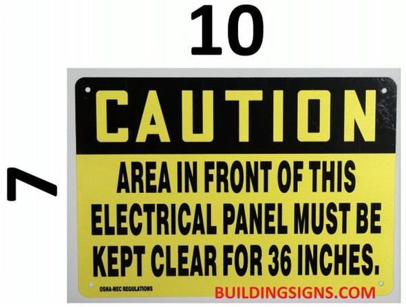Caution Area in Front of This Electrical Panel Must BE Kept Clear for6 ES Signage