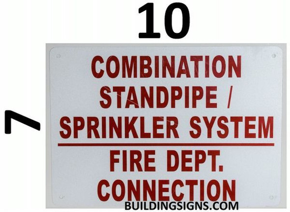 Combination Standpipe and Sprinkler System FIRE Department Connection Signage