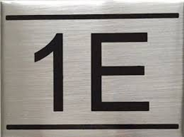 APARTMENT NUMBER SIGN -1E -BRUSHED ALUMINUM (2.25X3)