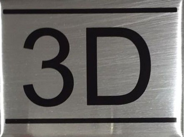 APARTMENT NUMBER SIGN -3D -BRUSHED ALUMINUM