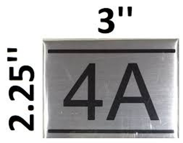 APARTMENT NUMBER SIGN -4A -BRUSHED ALUMINUM