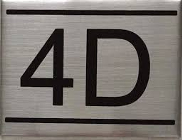 APARTMENT NUMBER SIGN -4D -BRUSHED ALUMINUM