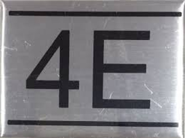 APARTMENT NUMBER SIGN -4E -BRUSHED ALUMINUM