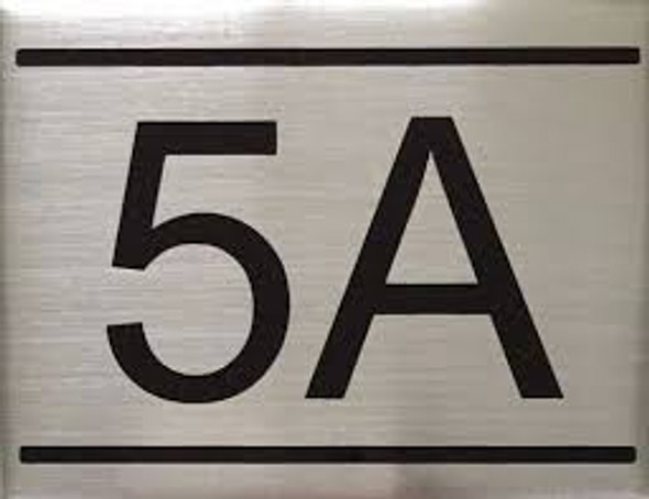 APARTMENT NUMBER SIGN -5A -BRUSHED ALUMINUM