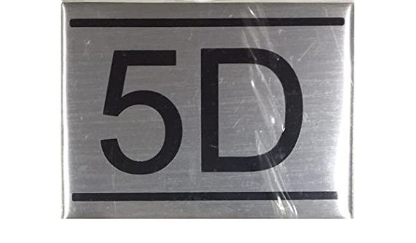 APARTMENT NUMBER SIGN -5D -BRUSHED ALUMINUM