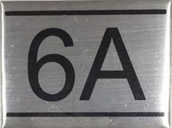 APARTMENT NUMBER SIGN -6A -BRUSHED ALUMINUM