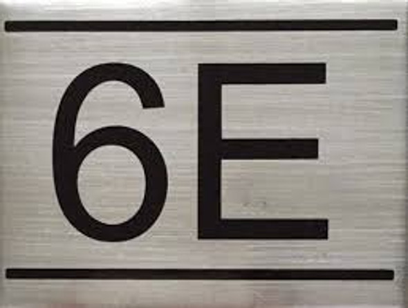 APARTMENT NUMBER SIGN -6E -BRUSHED ALUMINUM