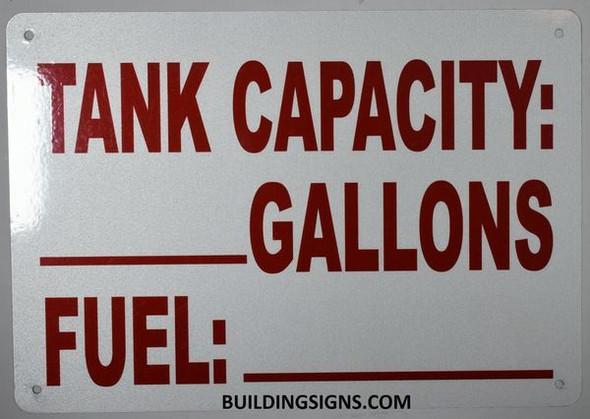 Tank Capacity Sign