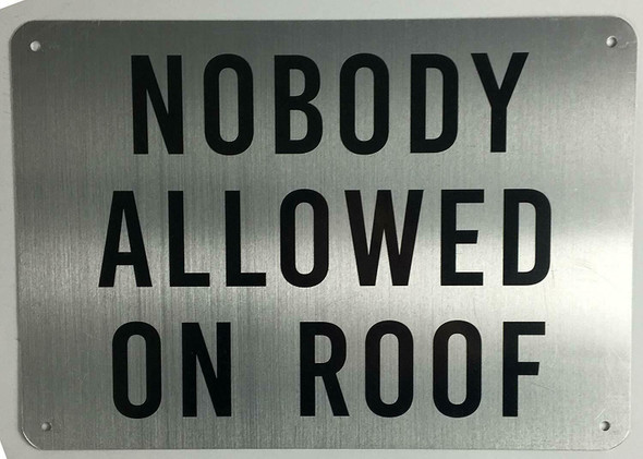 Nobody Allowed on Roof Sign (Brushed Aluminium) Potere d'argento Line