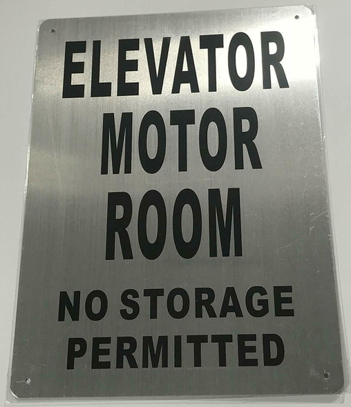 Elevator Motor Room Sign (Brushed Aluminium,) Potere d'argento Line