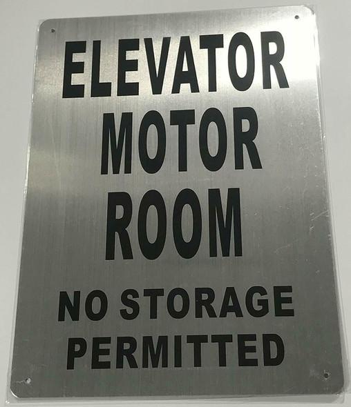 Elevator Motor Room SIGNAGE (Brushed Aluminium,) Potere d'argento Line