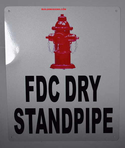FDC Dry Standpipe Sign with Image (White, Reflective, Aluminium 10x12)