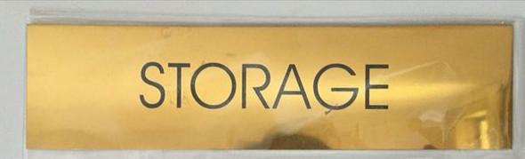 STORAGE SIGN - GOLD ALUMINUM