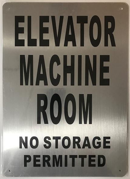 Elevator Machine Room Sign (Brushed Aluminium, 10x14) Potere d'argento Line