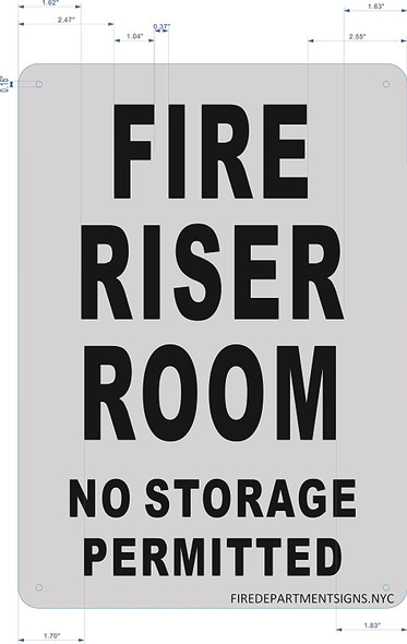 FIRE Riser Room Sign (Brushed Aluminium, 10x14) Potere d'argento Line