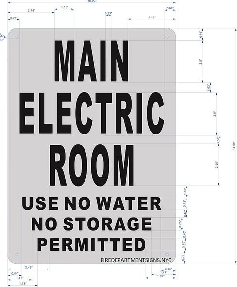Main Electric Room SIGNAGE ( Rust FreeAluminium)