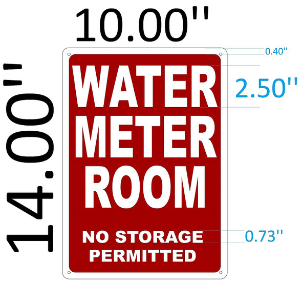 WATER METER ROOM SIGNAGE (Red, Reflective !!, ALUMINIUM )