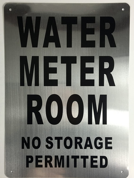 Water Meter Room SIGNAGE (Brushed Aluminium,) Potere d'argento Line