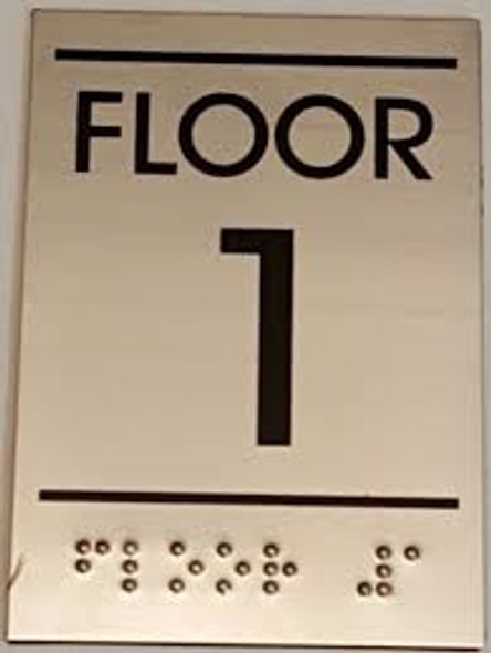 Floor number one (1) Sign - BRAILLE-STAINLESS STEEL