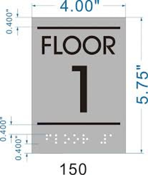Floor number one (1) Sign -Tactile Signs  BRAILLE-( Heavy Duty-Commercial Use )  Braille sign