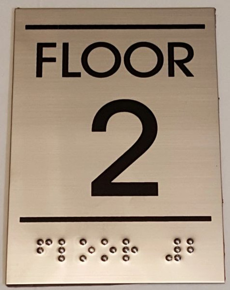 Floor number Sign TWO (2)- BRAILLE-STAINLESS STEEL