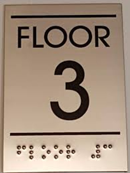 Floor number Three (3) Sign -Tactile Signs  BRAILLE-( Heavy Duty-Commercial Use ) Ada sign