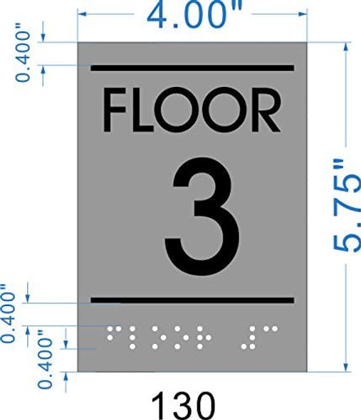 Floor number Three (3) Sign - BRAILLE-STAINLESS STEEL