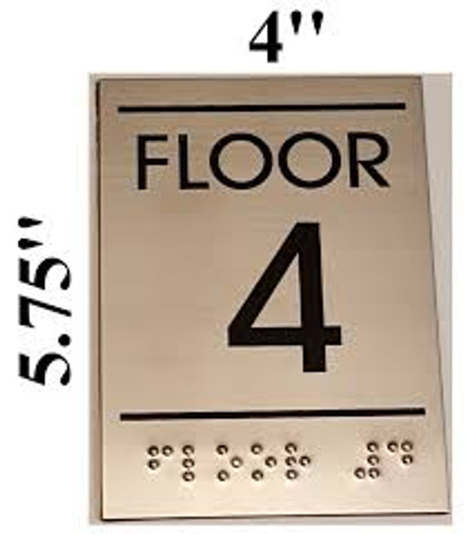 Floor number Sign Four (4)- BRAILLE-STAINLESS STEEL