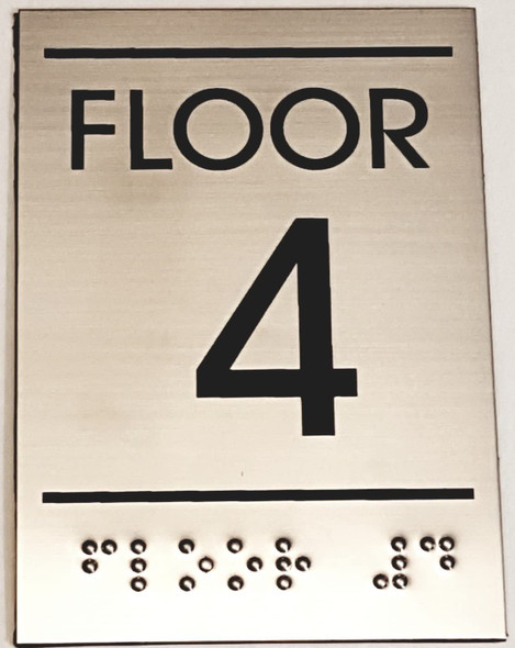 Floor Number Sign -Tactile Signs  Four (4)- BRAILLE-( Heavy Duty-Commercial Use ) Ada sign