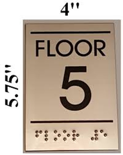 Floor number Sign FIVE (5)- BRAILLE-STAINLESS STEEL