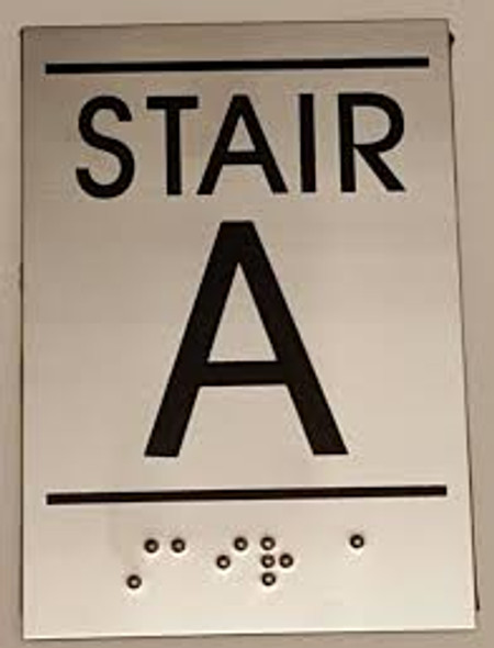 Floor number Sign STAIR A - BRAILLE-STAINLESS STEEL