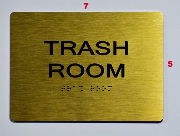 TRASH ROOM Sign -Tactile Signs Tactile Signs    Braille sign