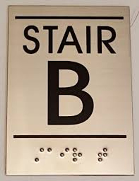 Floor number Sign STAIR B - BRAILLE-STAINLESS STEEL