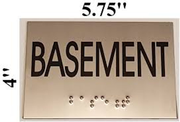 BASEMENT Sign -Tactile Signs  BRAILLE-STAINLESS STEEL ( Heavy Duty-Commercial Use )