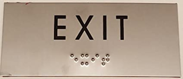 EXIT SIGN - BRAILLE-STAINLESS STEEL