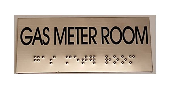 GAS METER ROOM Sign -Tactile Signs  BRAILLE-STAINLESS STEEL ( Heavy Duty-Commercial Use )