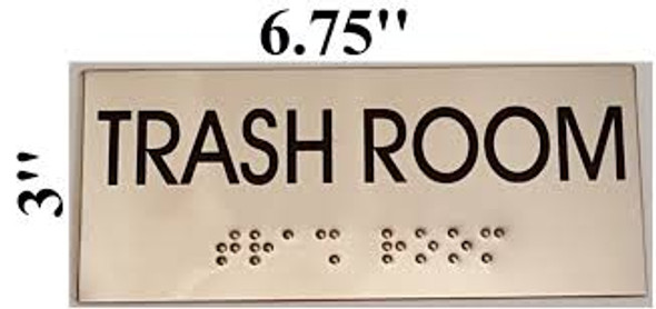 TRASH ROOM Sign -Tactile Signs Tactile Signs  BRAILLE-STAINLESS STEEL ( Heavy Duty-Commercial Use )
