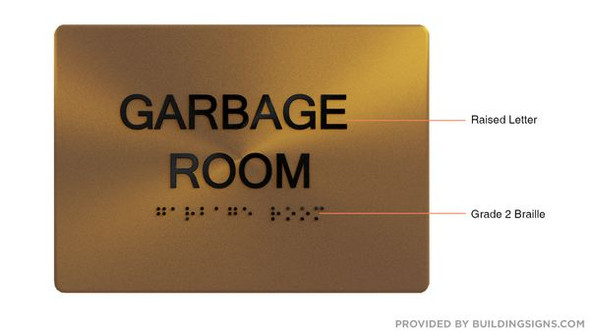 GARBAGE ROOM Sign -Tactile Signs Tactile Signs    Braille sign