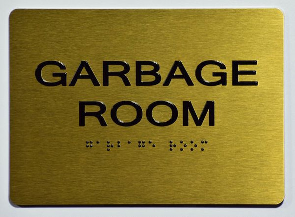 GARBAGE ROOM GOLD SIGN