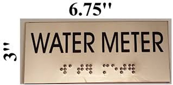 WATER METER SIGN - BRAILLE-STAINLESS STEEL ( Heavy Duty-Commercial Use )