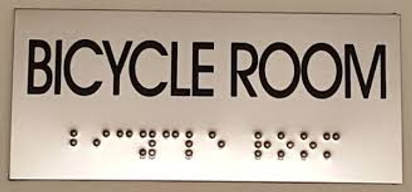BICYCLE ROOM Sign -Tactile Signs Tactile Signs  BRAILLE-STAINLESS STEEL ( Heavy Duty-Commercial Use )