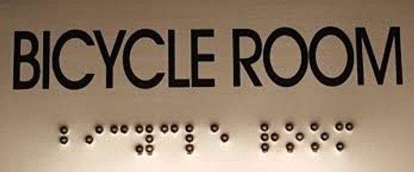 BICYCLE ROOM SIGN- BRAILLE-STAINLESS STEEL