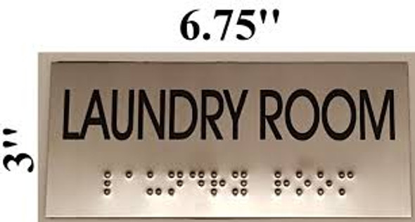 LAUNDRY ROOM Sign -Tactile Signs  BRAILLE-STAINLESS STEEL( Heavy Duty-Commercial Use )  Braille sign