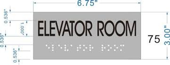 ELEVATOR ROOM SIGN- BRAILLE-STAINLESS STEEL