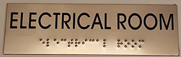 ELECTRICAL ROOM SIGN- BRAILLE-STAINLESS STEEL