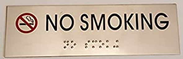 NO SMOKING SIGN - BRAILLE-STAINLESS STEEL